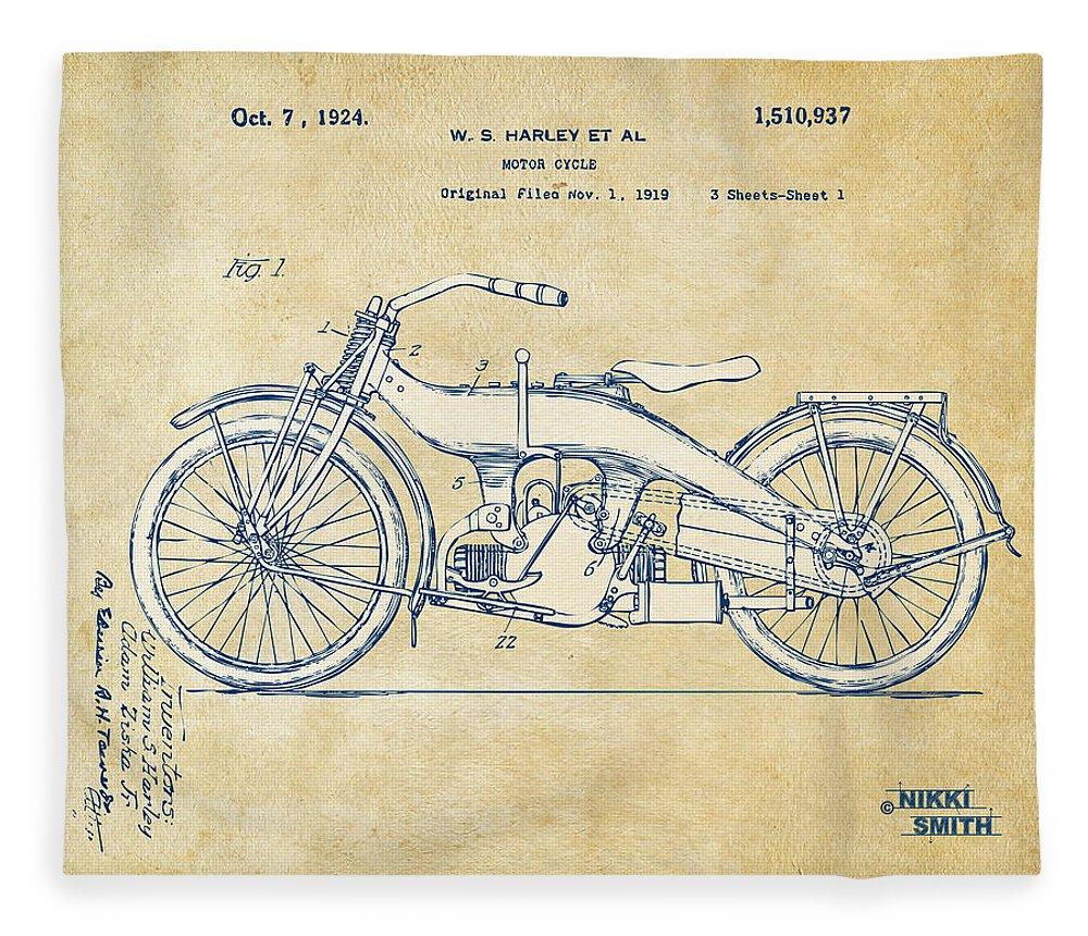 Harley-davidson Fleece Blanket featuring the digital art Vintage Harley-davidson Motorcycle 1924 Patent Artwork by Nikki Smith