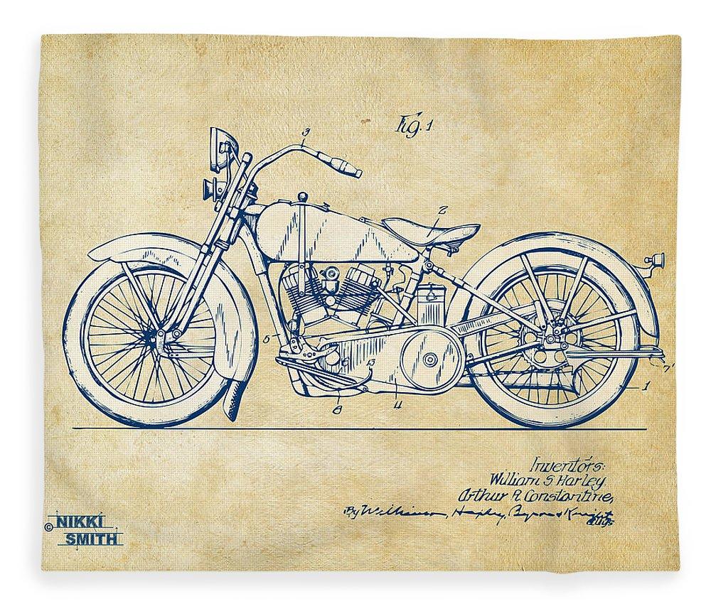 Harley-davidson Fleece Blanket featuring the digital art Vintage Harley-davidson Motorcycle 1928 Patent Artwork by Nikki Smith