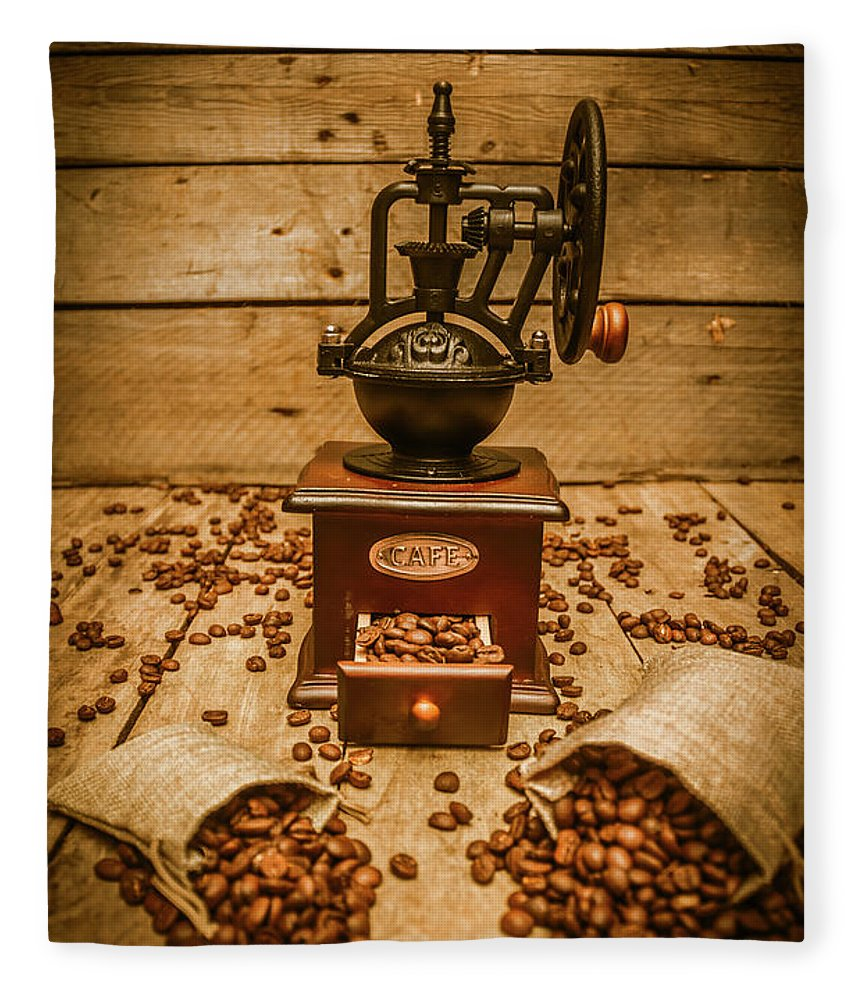 Coffee Fleece Blanket featuring the photograph Vintage Manual Grinder And Coffee Beans by Jorgo Photography - Wall Art Gallery