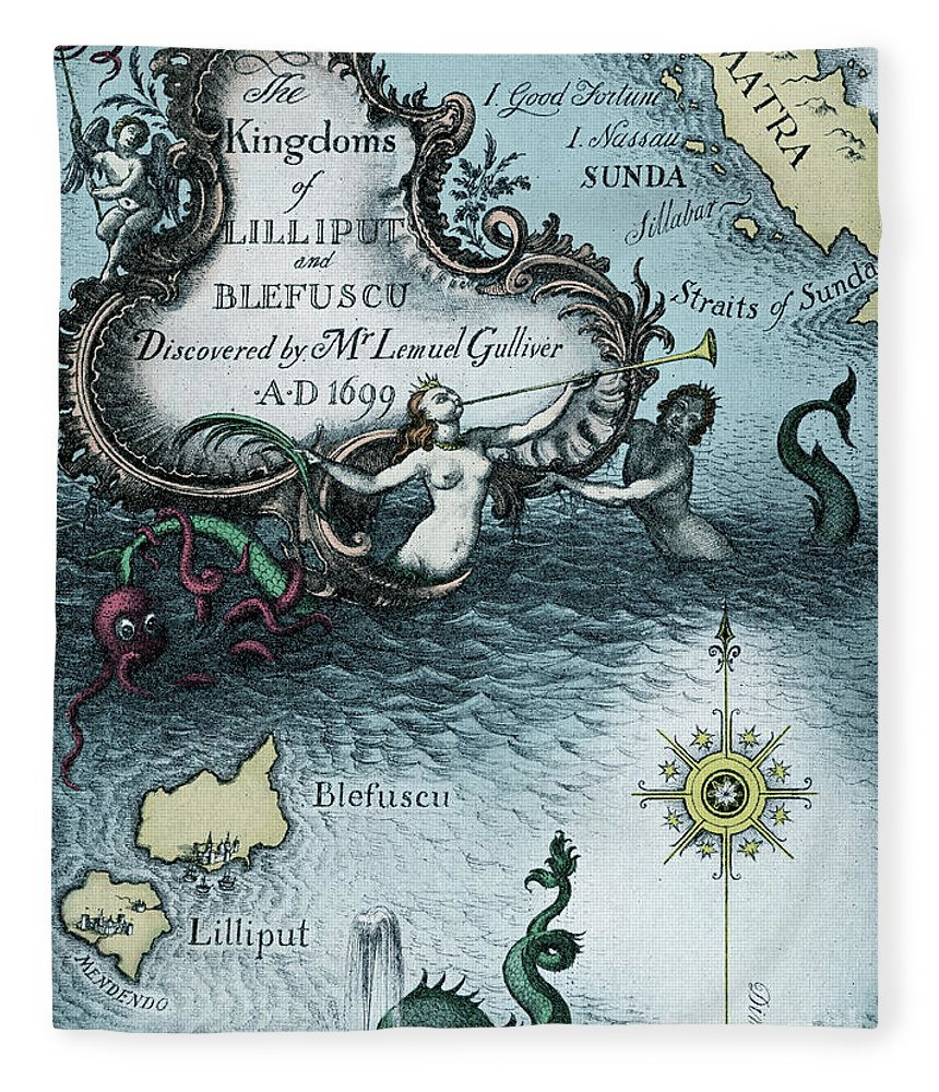 Gullivers Travels Fleece Blanket featuring the drawing Vintage Map From Gulliver's Travels By Jonathan Swift by Rex Whistler