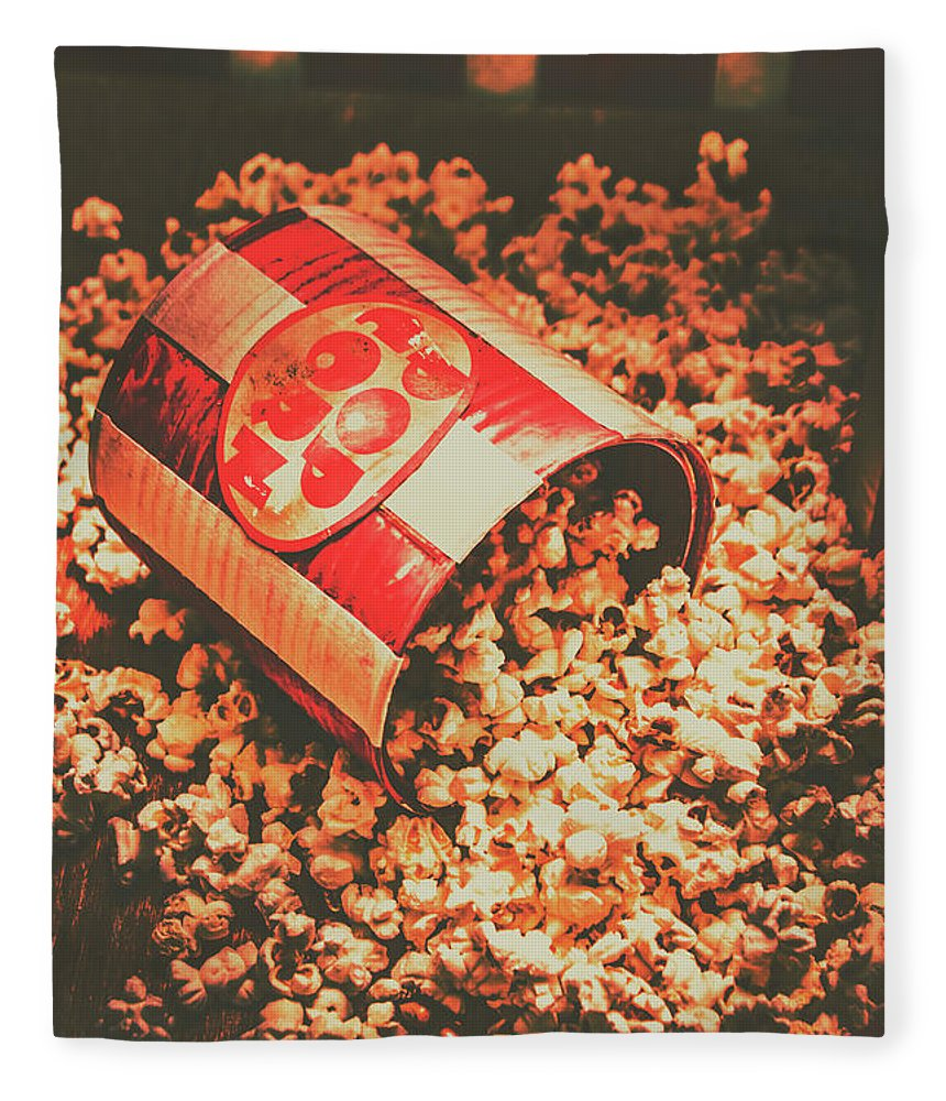 Film Fleece Blanket featuring the photograph Vintage Popcorn Tin. Faded Films Still Life by Jorgo Photography - Wall Art Gallery