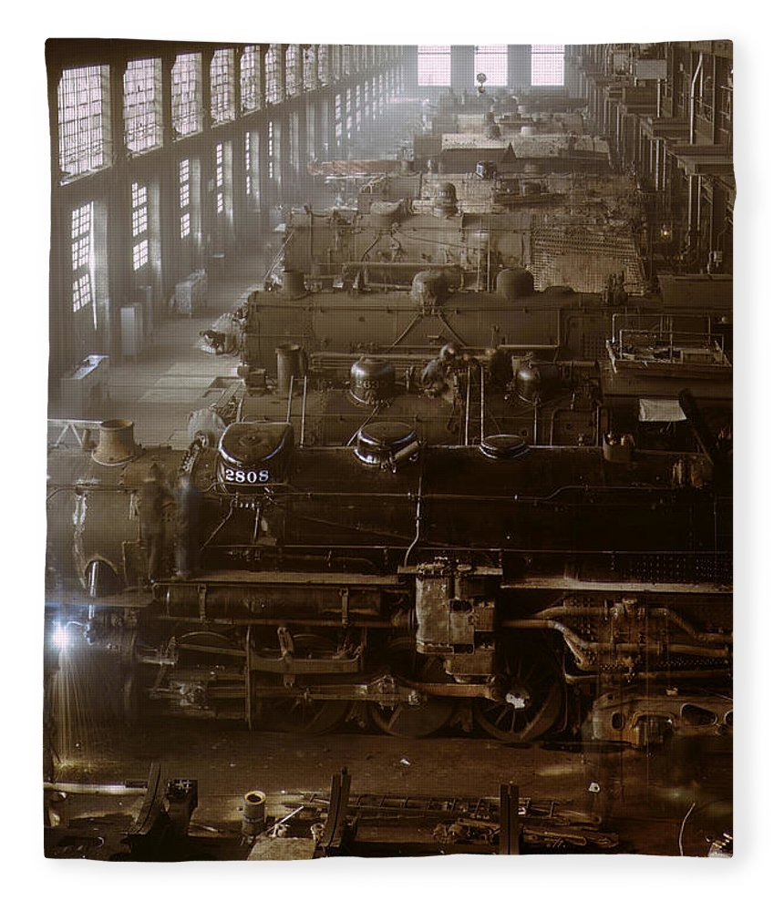 Vintage Train Fleece Blanket featuring the photograph Vintage Railroad Locomotive Shop - 1942 by War Is Hell Store