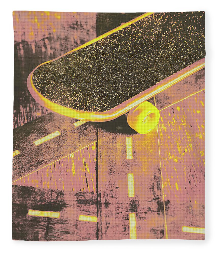 Skate Fleece Blanket featuring the photograph Vintage Skateboard Ruling The Road by Jorgo Photography - Wall Art Gallery