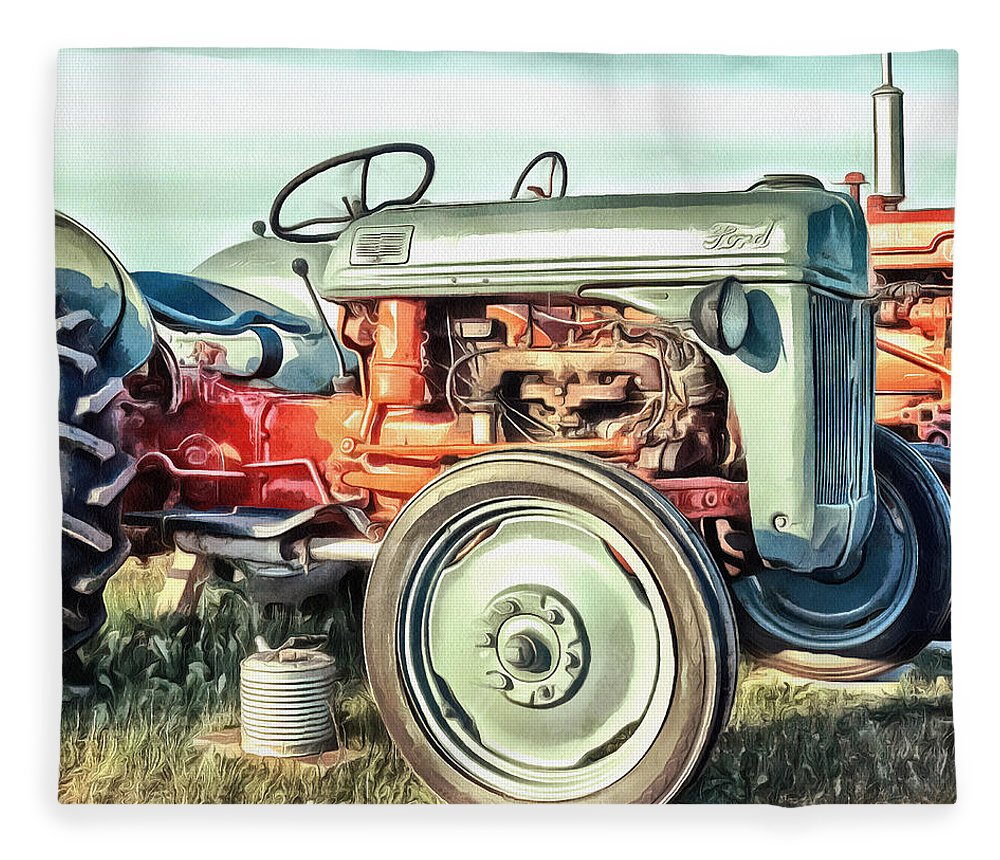 Painting Fleece Blanket featuring the painting Vintage Tractors PEI Square by Edward Fielding