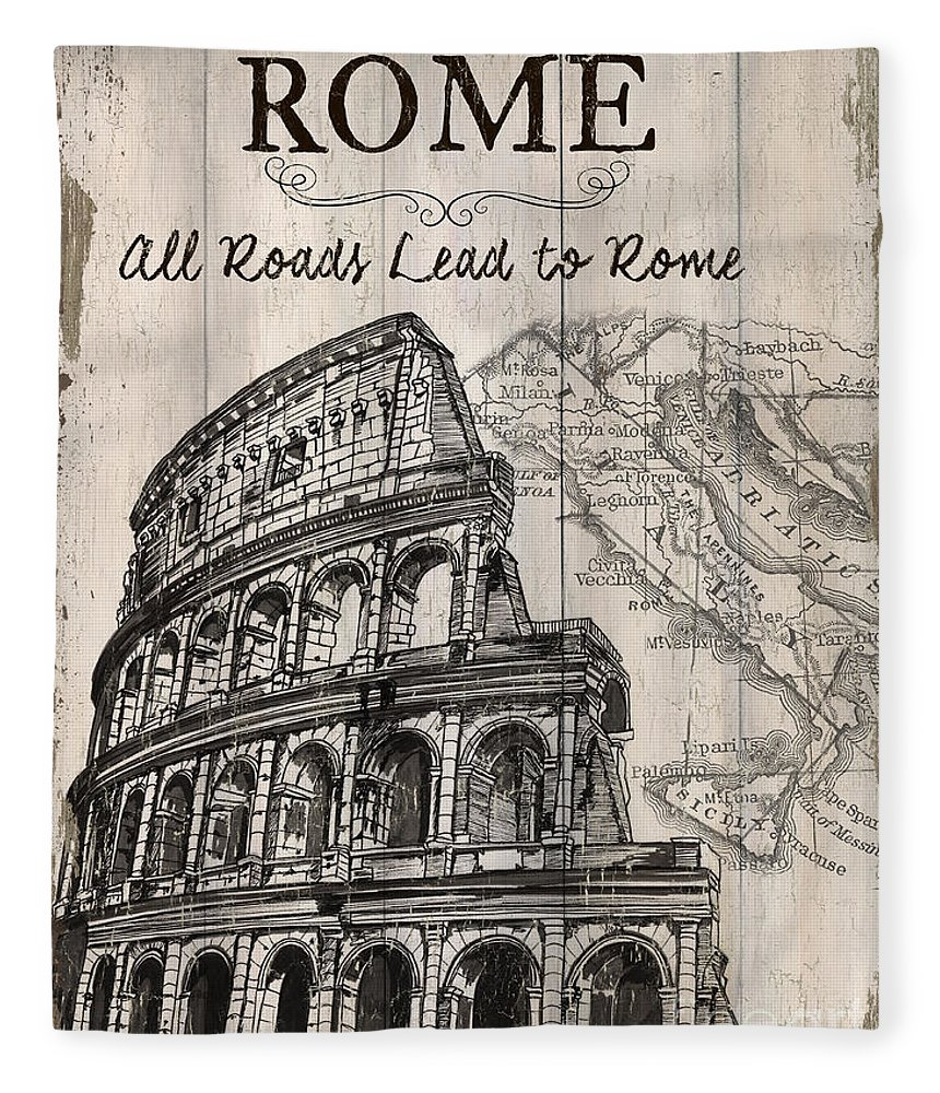 Rome Fleece Blanket featuring the painting Vintage Travel Poster by Debbie DeWitt