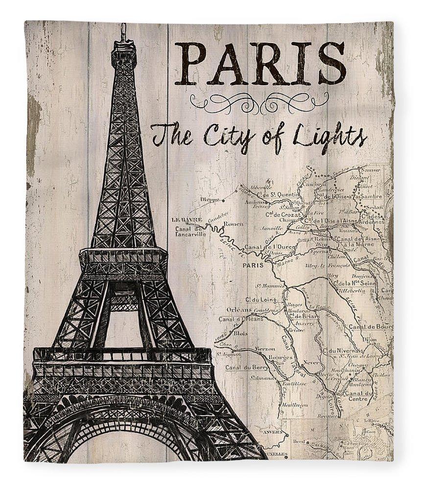 Paris Fleece Blanket featuring the painting Vintage Travel Poster Paris by Debbie DeWitt