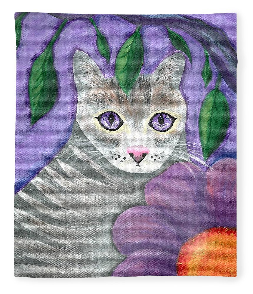 Violet Purple Lavender Eyes Kitty Cat Flower Floral Tabby Grey Fleece Blanket featuring the painting Violet Eyed Cat by Monica Resinger