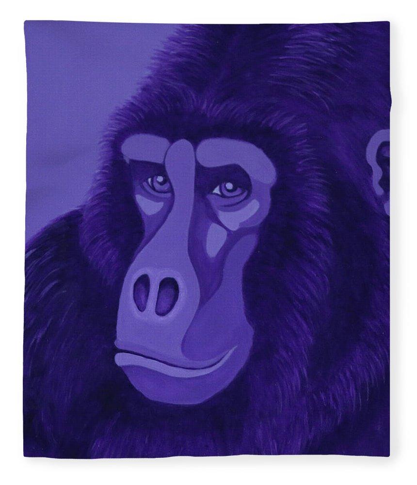 Violet Gorilla Fleece Blanket