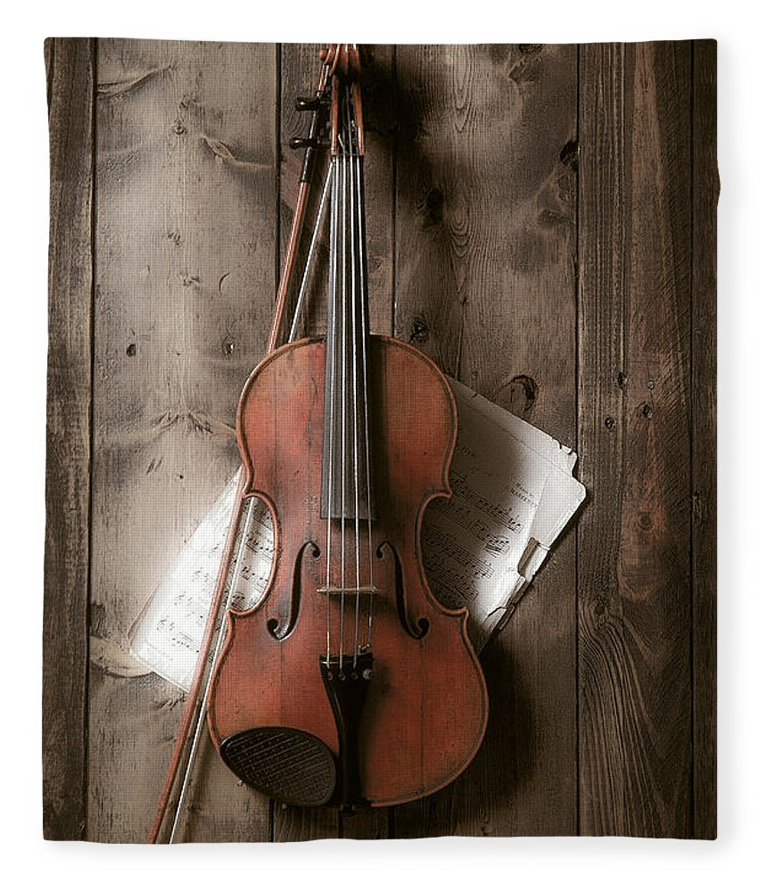 Bow Fleece Blanket featuring the photograph Violin by Garry Gay