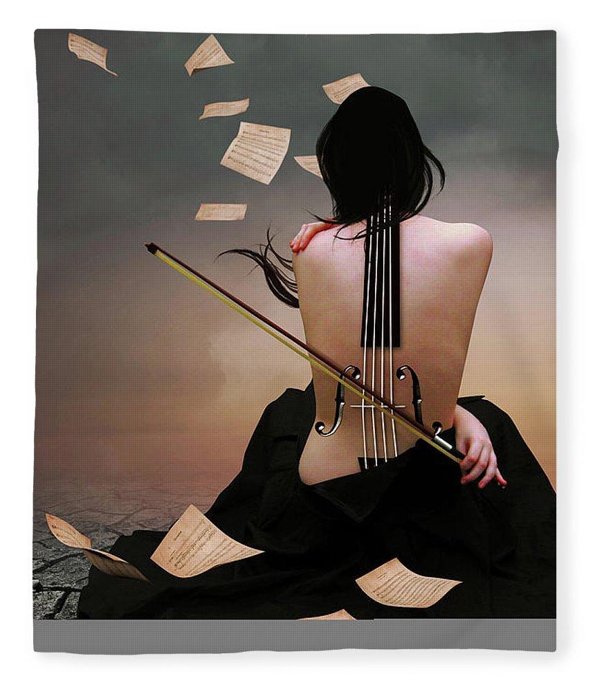 Surreal Fleece Blanket featuring the digital art Violin Woman by Mihaela Pater