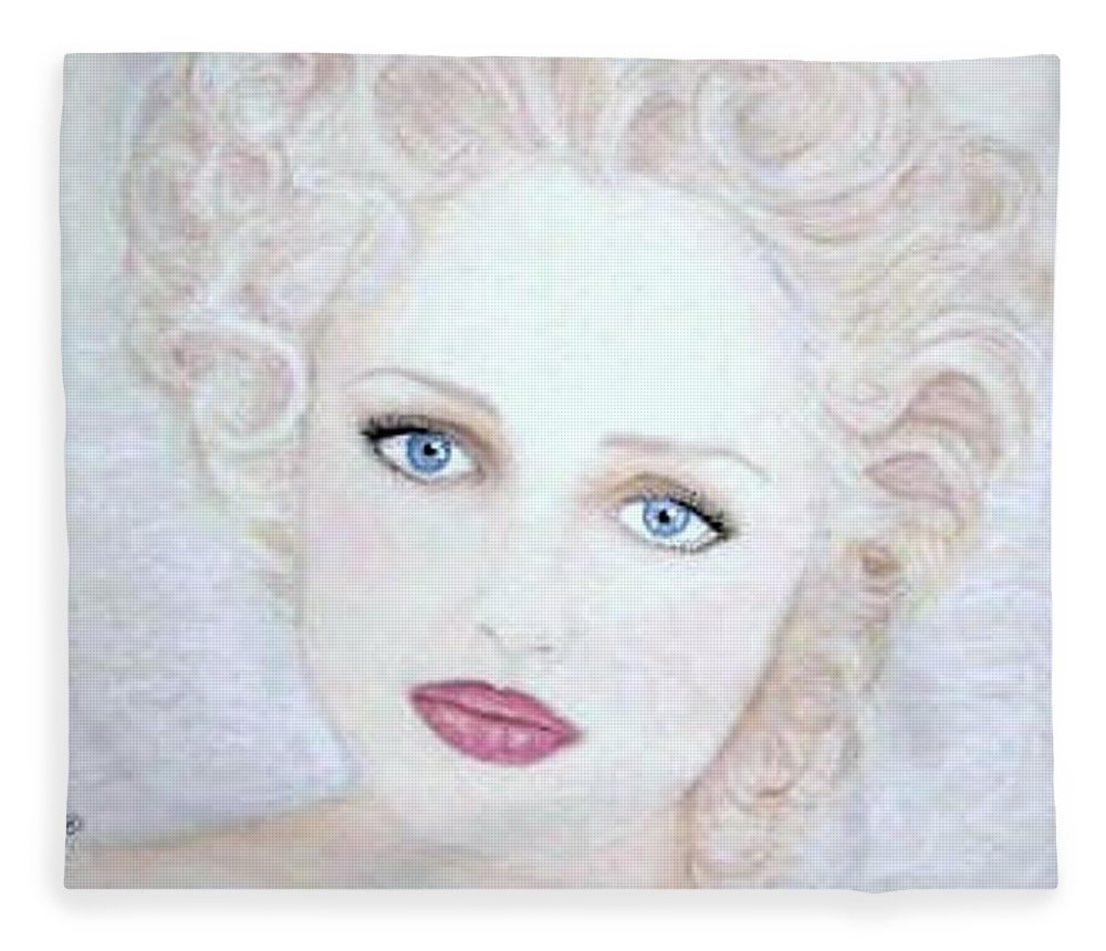 Face Fleece Blanket featuring the drawing Virginia by Scarlett Royal