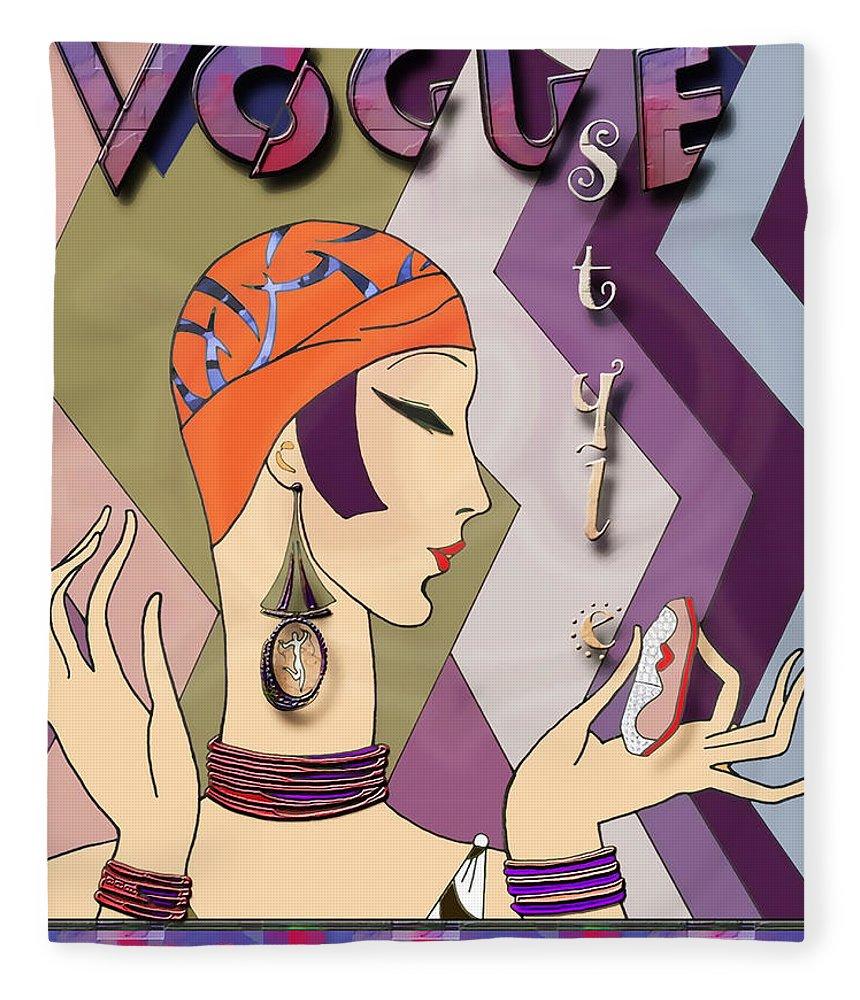 Vogue Fleece Blanket featuring the digital art Vogue 5 by Chuck Staley