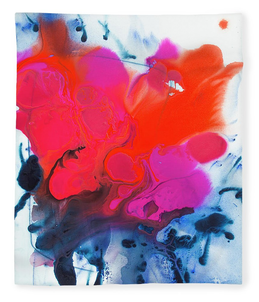 Abstract Fleece Blanket featuring the painting Voice by Claire Desjardins