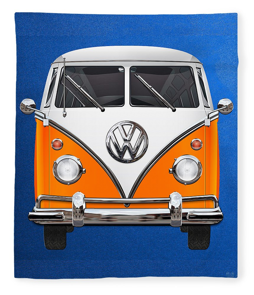 'volkswagen Type 2' Collection By Serge Averbukh Fleece Blanket featuring the photograph Volkswagen Type - Orange And White Volkswagen T 1 Samba Bus Over Blue Canvas by Serge Averbukh