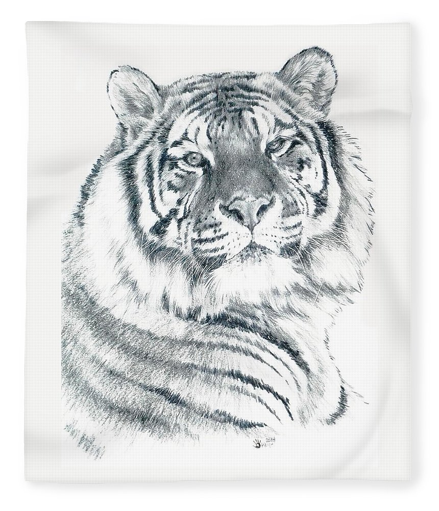 Tiger Fleece Blanket featuring the drawing Voyager by Barbara Keith