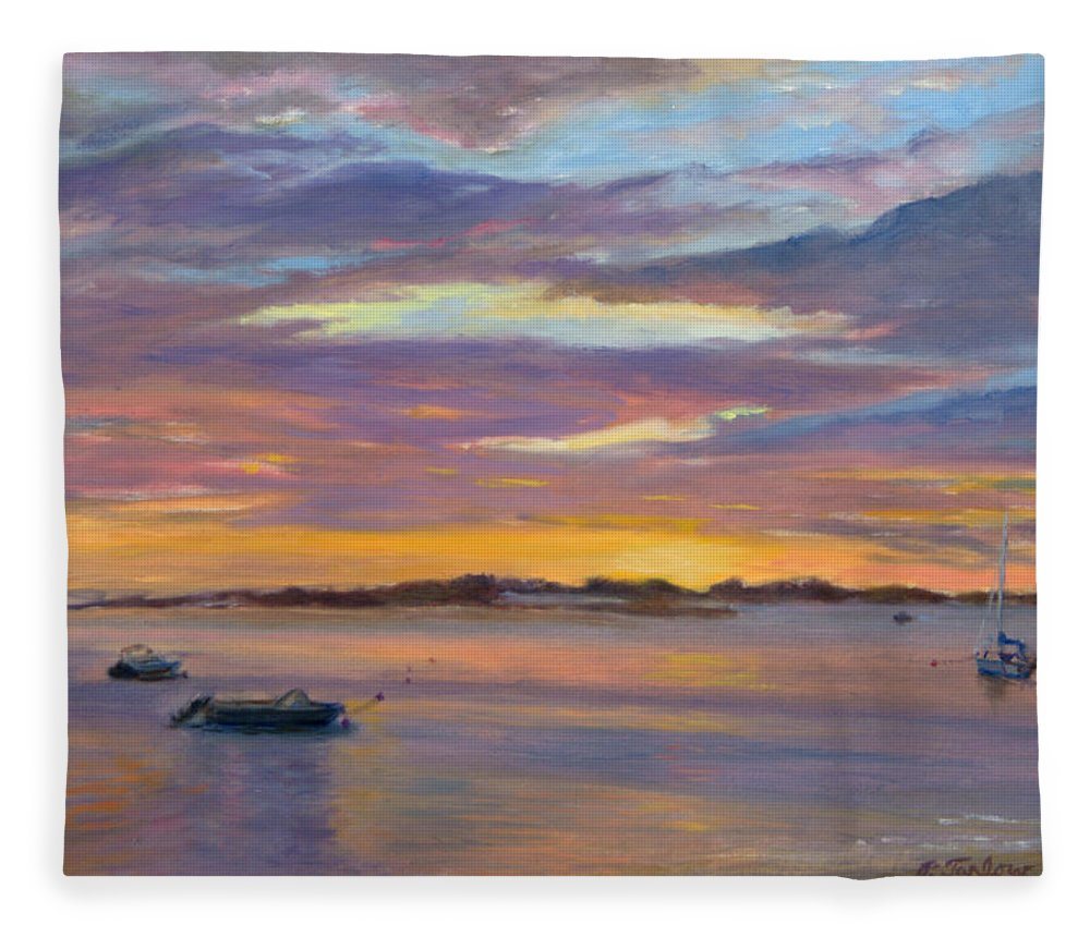 Landscape Fleece Blanket featuring the painting Wades Beach Sunset by Phyllis Tarlow