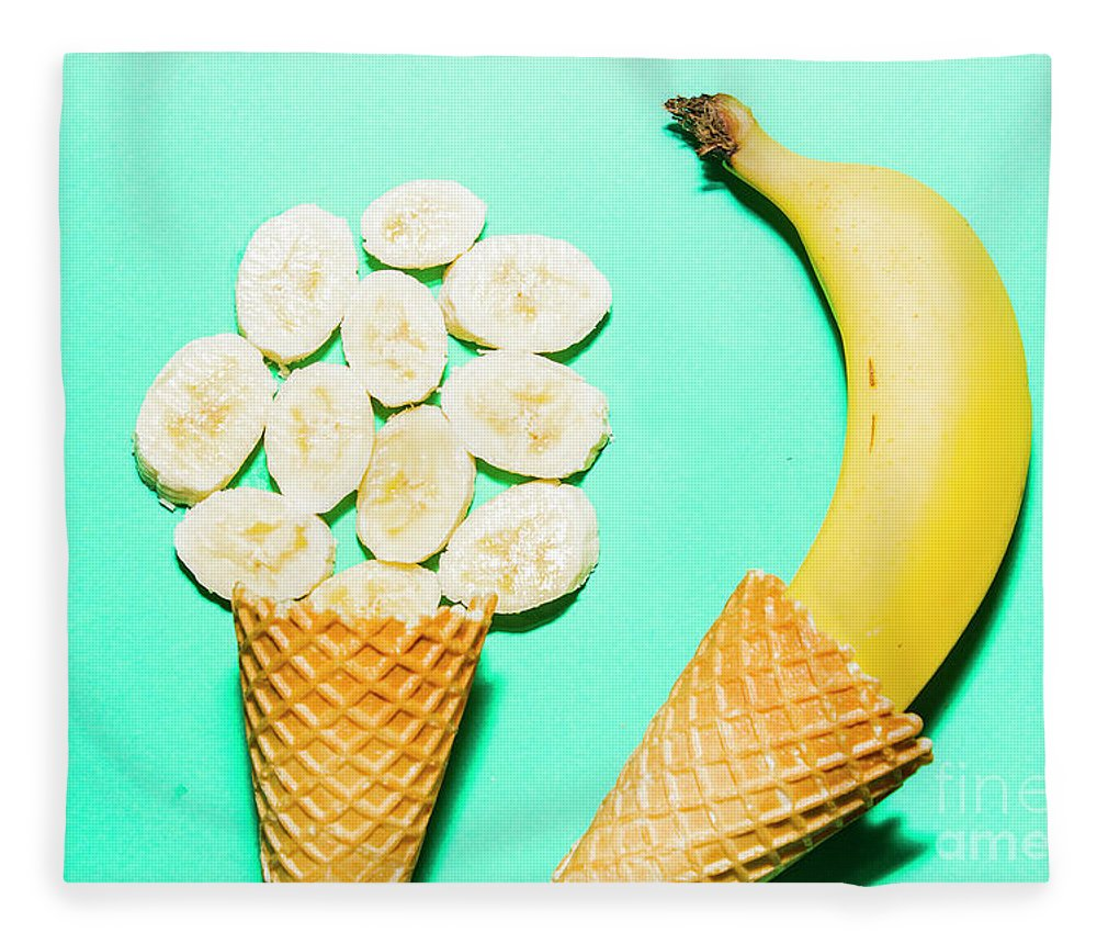 Summer Fleece Blanket featuring the photograph Waffle Cones With Fresh Banana by Jorgo Photography - Wall Art Gallery