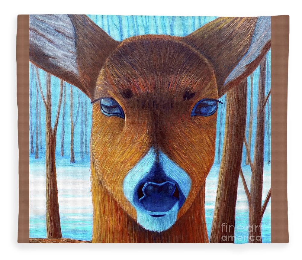Deer Fleece Blanket featuring the painting Wait For The Magic by Brian Commerford