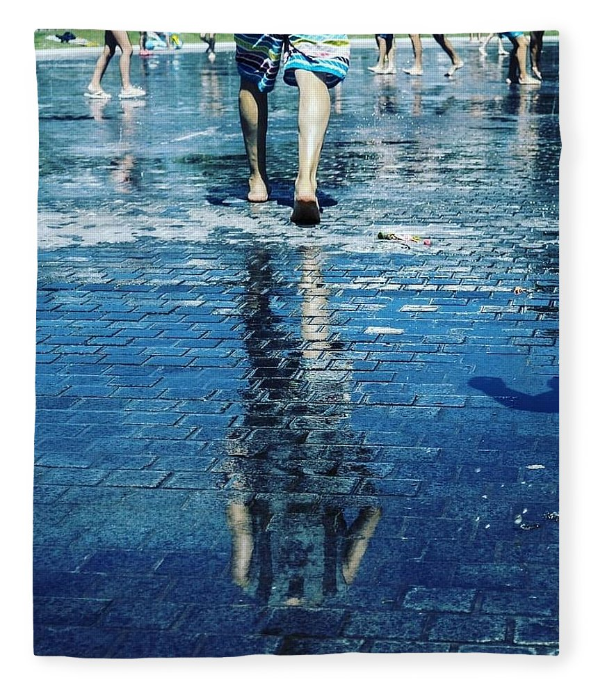 Man Fleece Blanket featuring the photograph Walking On The Water by Nerea Berdonces Albareda