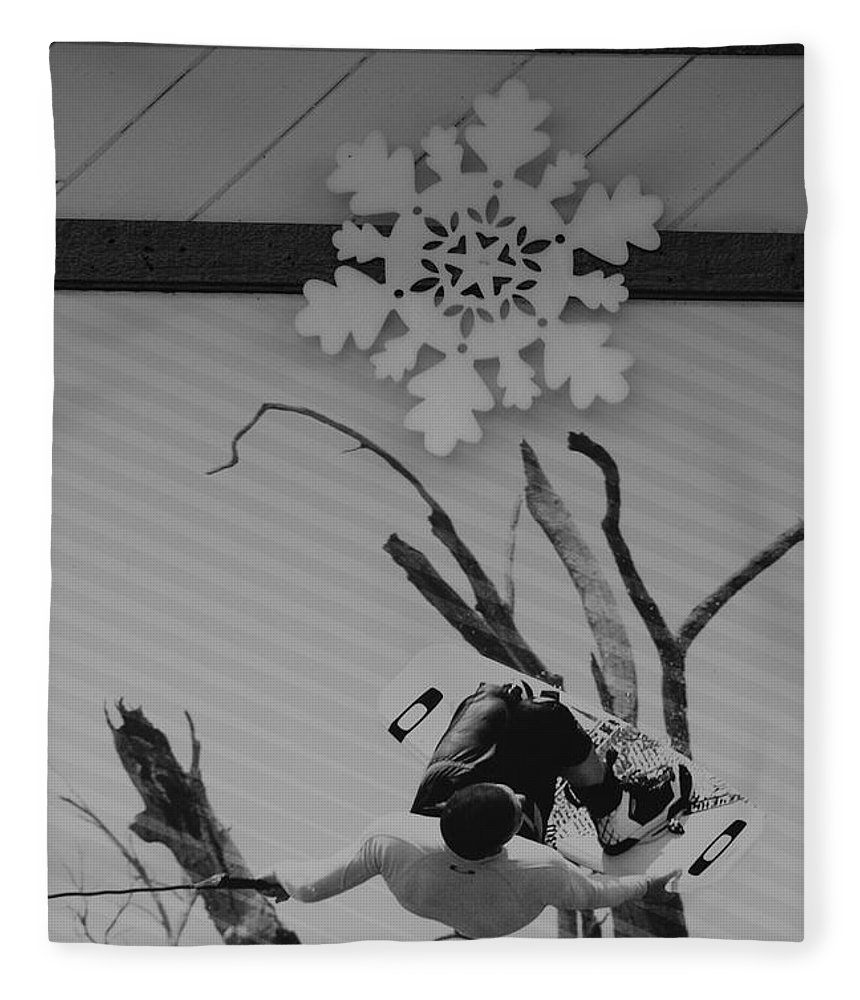 Snow Flake Fleece Blanket featuring the photograph Wall Surfing With A Snow Flake by Rob Hans