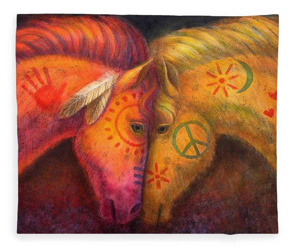 Horse Fleece Blanket featuring the painting War Horse and Peace Horse by Sue Halstenberg