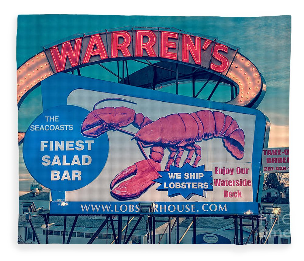 Boat Fleece Blanket featuring the photograph Warrens Lobster House Neon Sign Kittery Maine by Edward Fielding