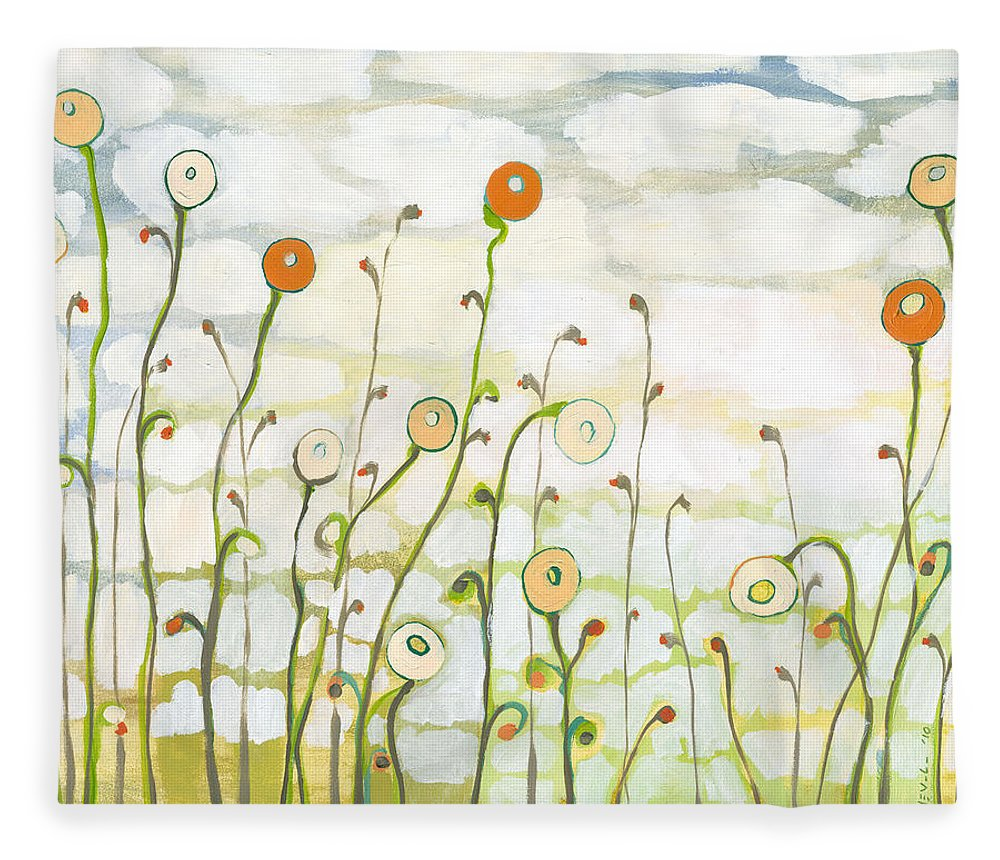 Clouds Fleece Blanket featuring the painting Watching the Clouds Go By No 2 by Jennifer Lommers