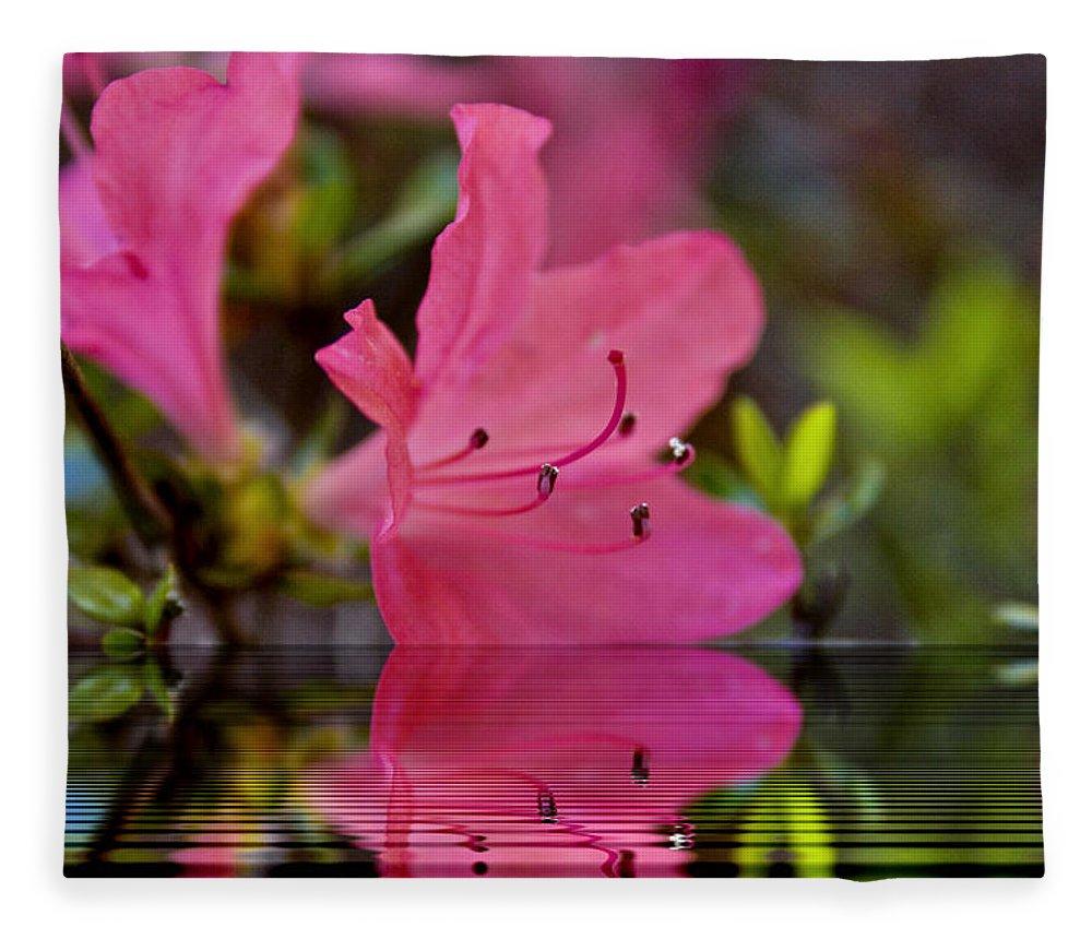 Water Fleece Blanket featuring the digital art Water Azalea by Ches Black