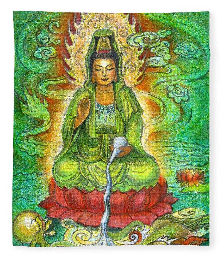 Kuan Yin Fleece Blanket featuring the painting Water Dragon Kuan Yin by Sue Halstenberg