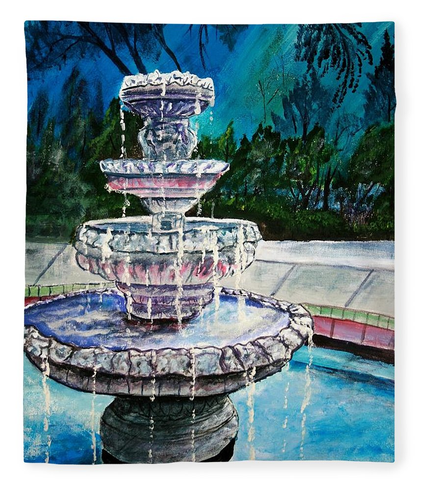 Acrylic Fleece Blanket featuring the painting Water Fountain Acrylic Painting Art Print by Derek Mccrea
