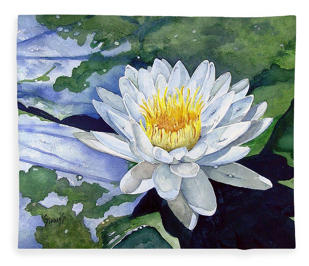 Flower Fleece Blanket featuring the painting Water Lily by Sam Sidders