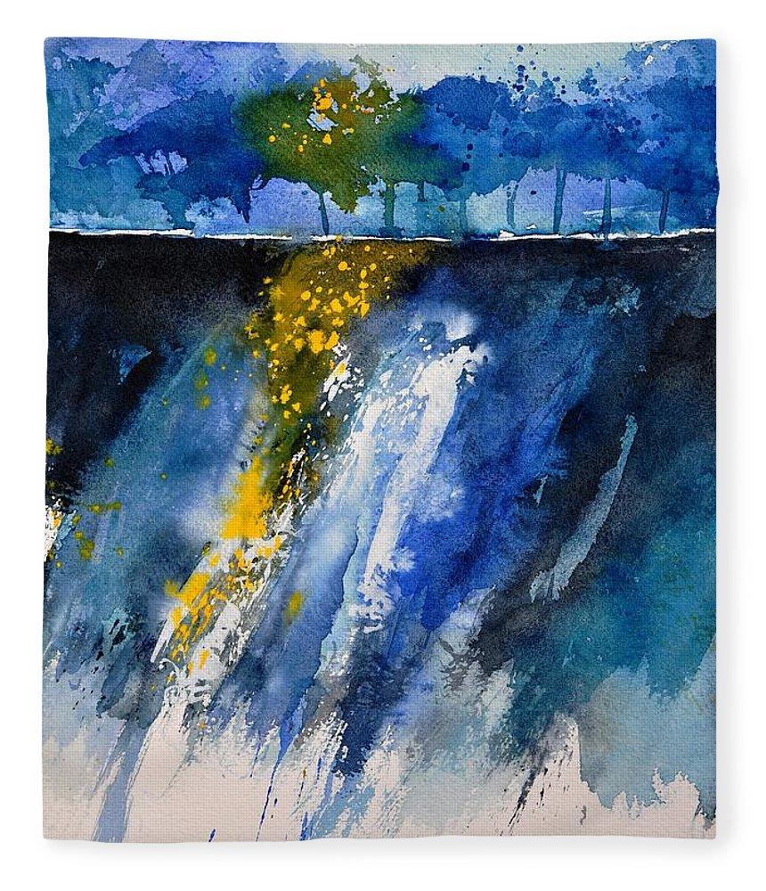 Abstract Fleece Blanket featuring the painting Watercolor 119001 by Pol Ledent