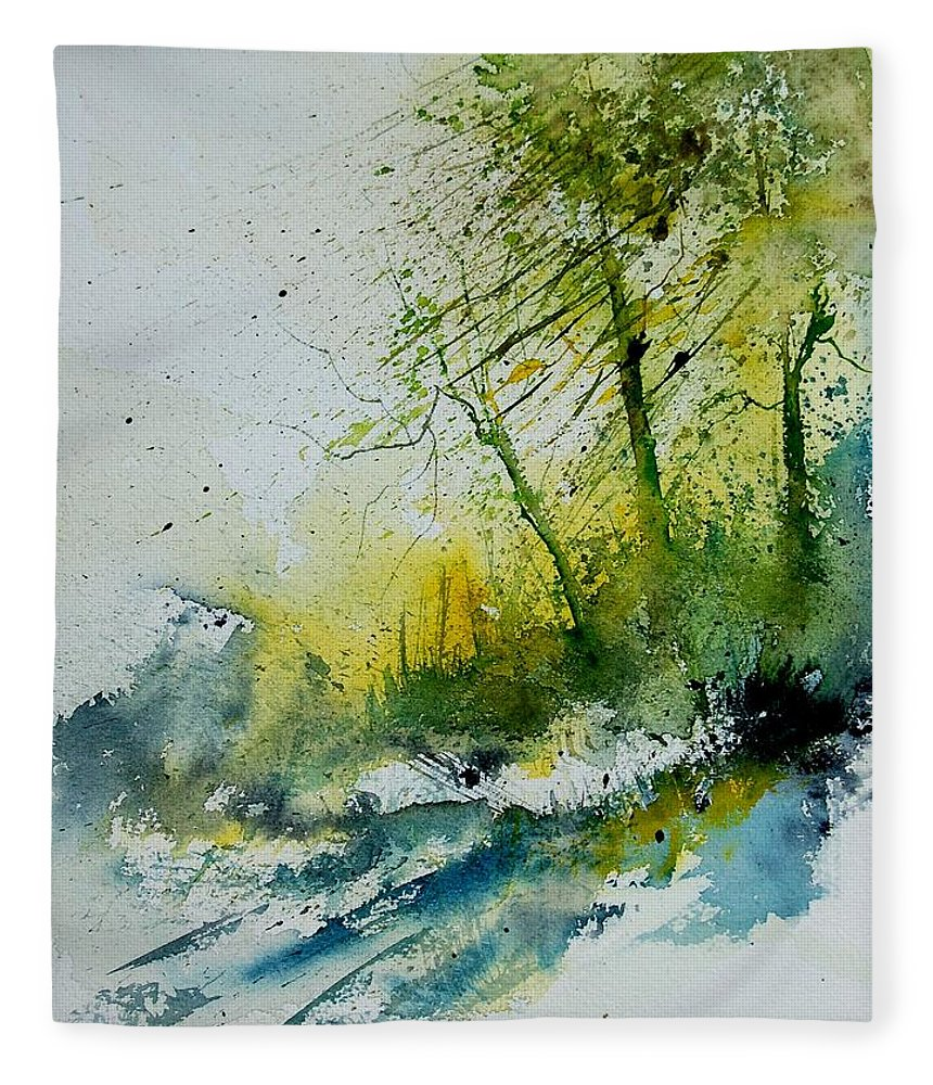 River Fleece Blanket featuring the painting Watercolor 181207 by Pol Ledent