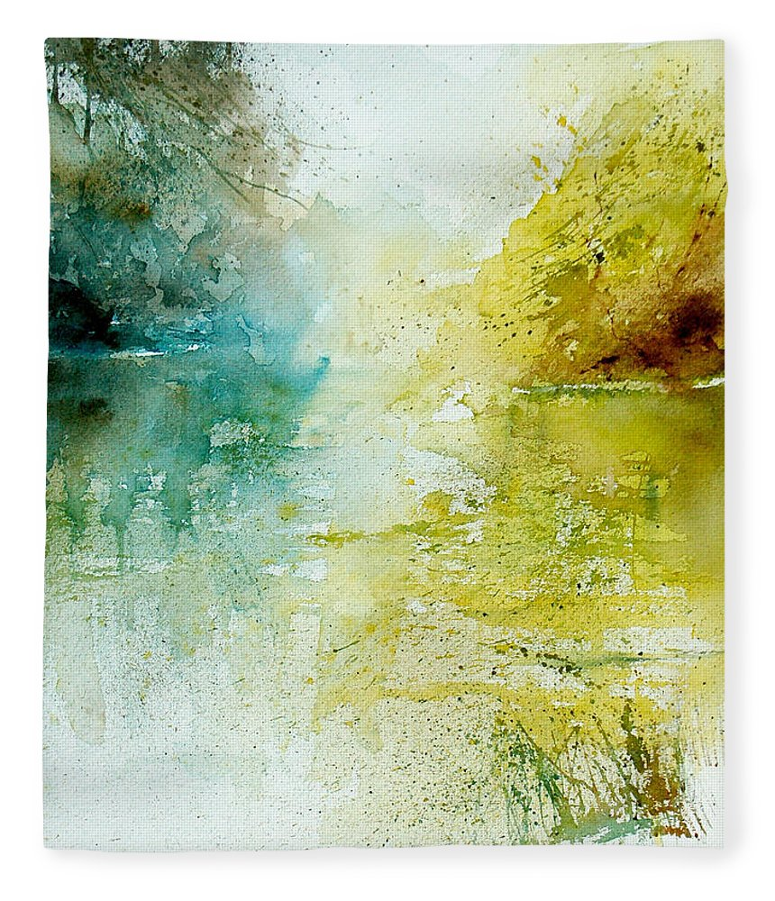 Pond Nature Landscape Fleece Blanket featuring the painting Watercolor 24465 by Pol Ledent