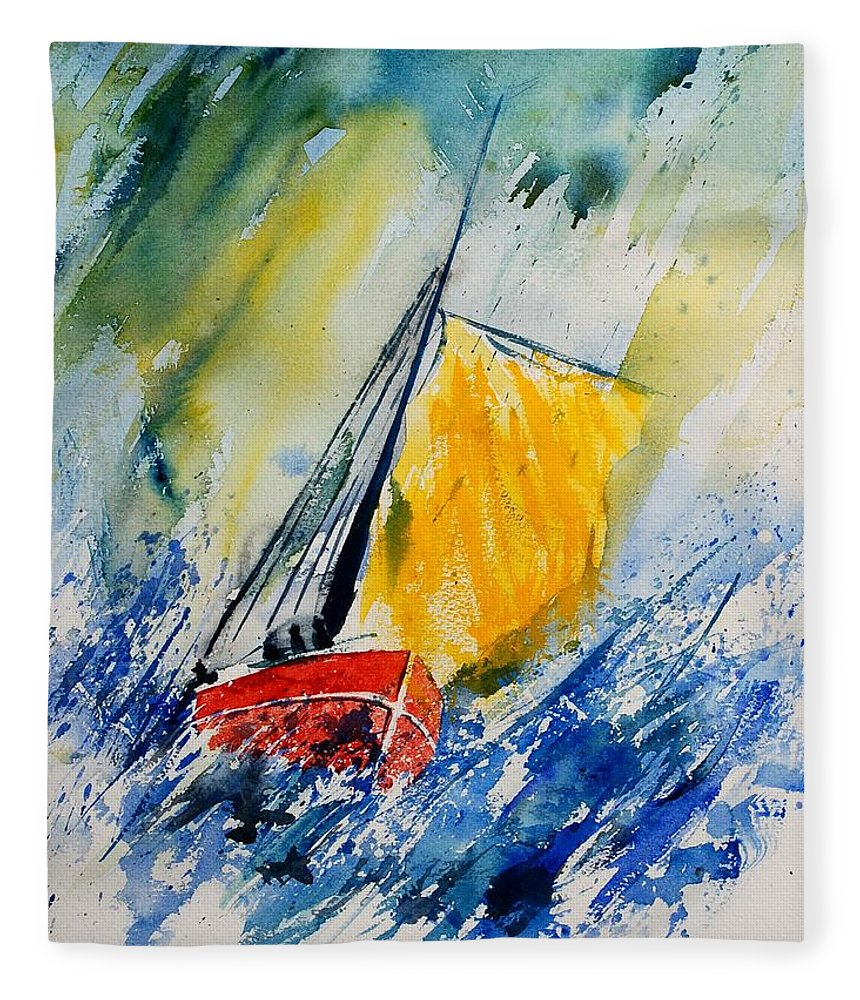 Sea Waves Ocean Boat Sailing Fleece Blanket featuring the painting Watercolor 280308 by Pol Ledent