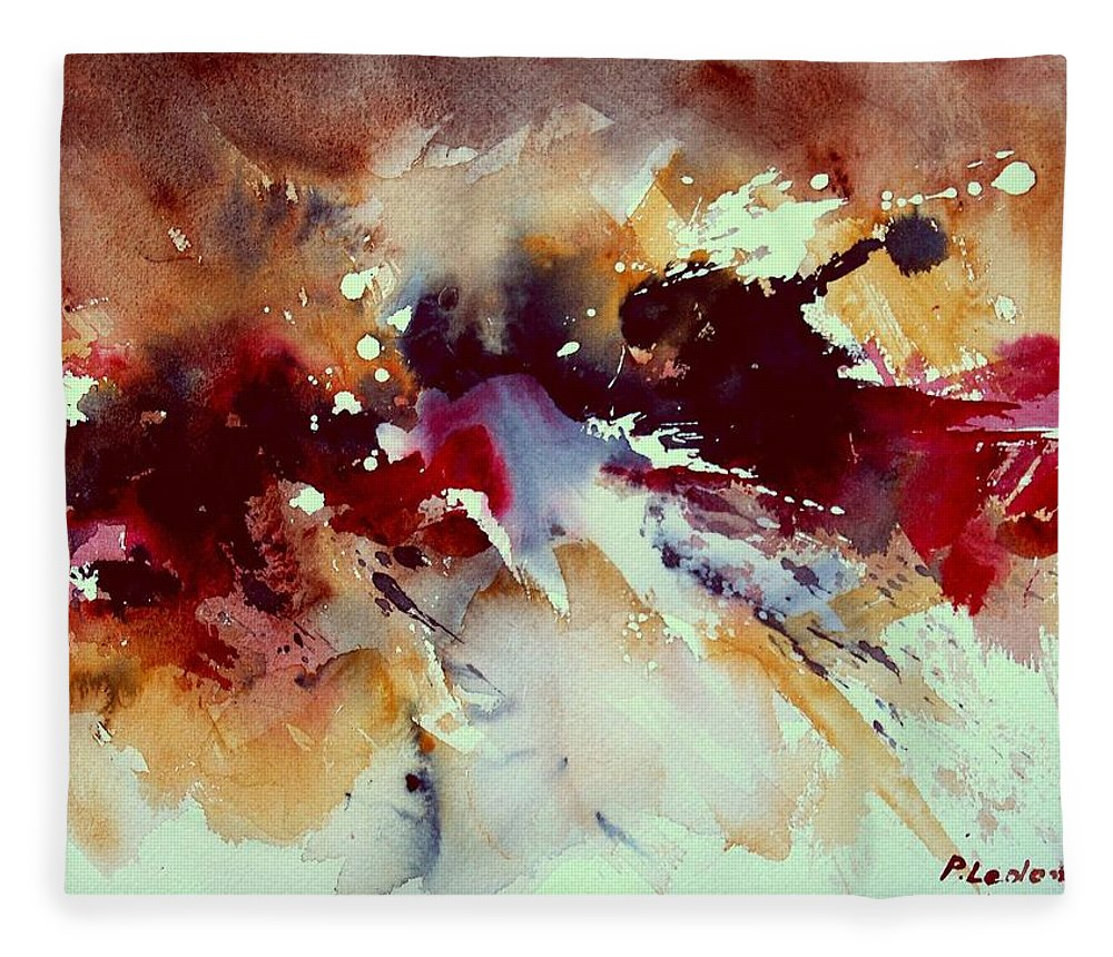 Abstract Fleece Blanket featuring the painting Watercolor 301107 by Pol Ledent