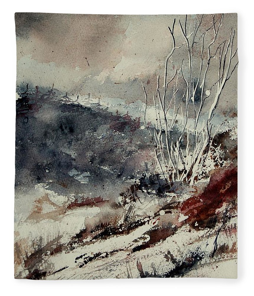 Snow Fleece Blanket featuring the print Watercolor 446 by Pol Ledent