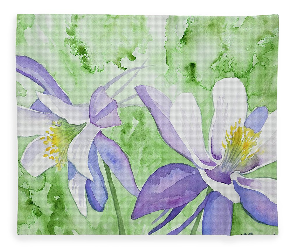 Watercolor blue columbine flowers fleece blanket for sale by flower fleece blanket featuring the painting watercolor blue columbine flowers by cascade colors izmirmasajfo
