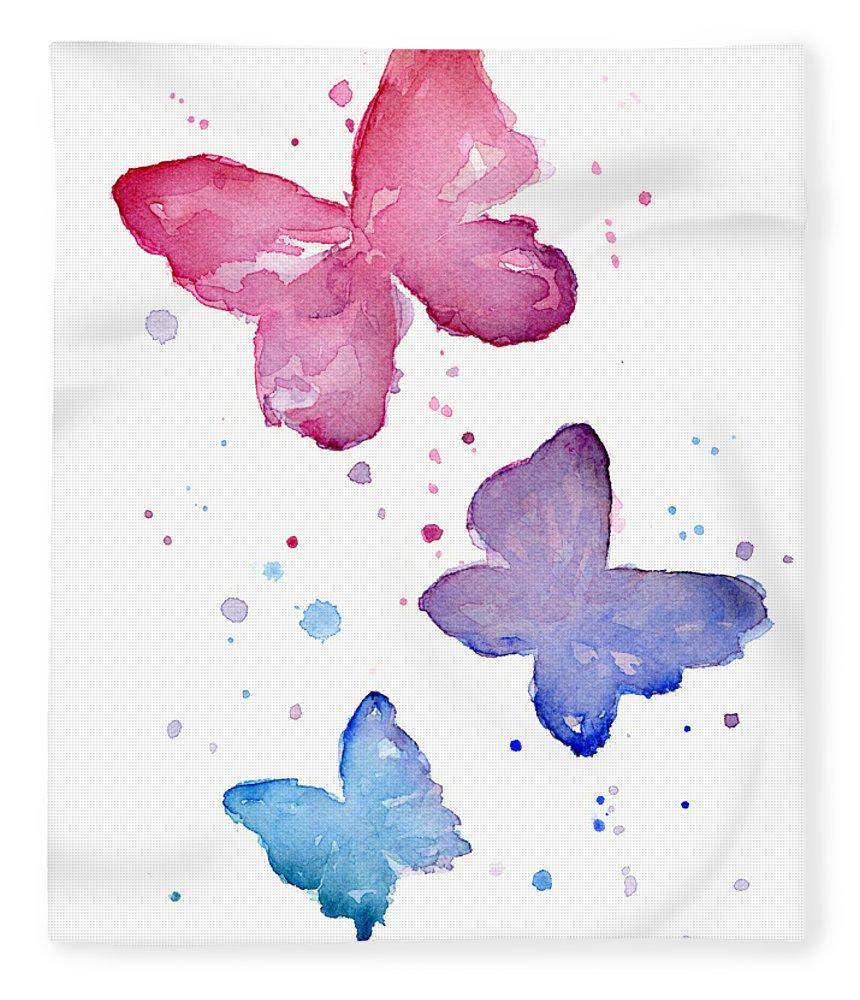 Watercolor Fleece Blanket featuring the painting Watercolor Butterflies by Olga Shvartsur