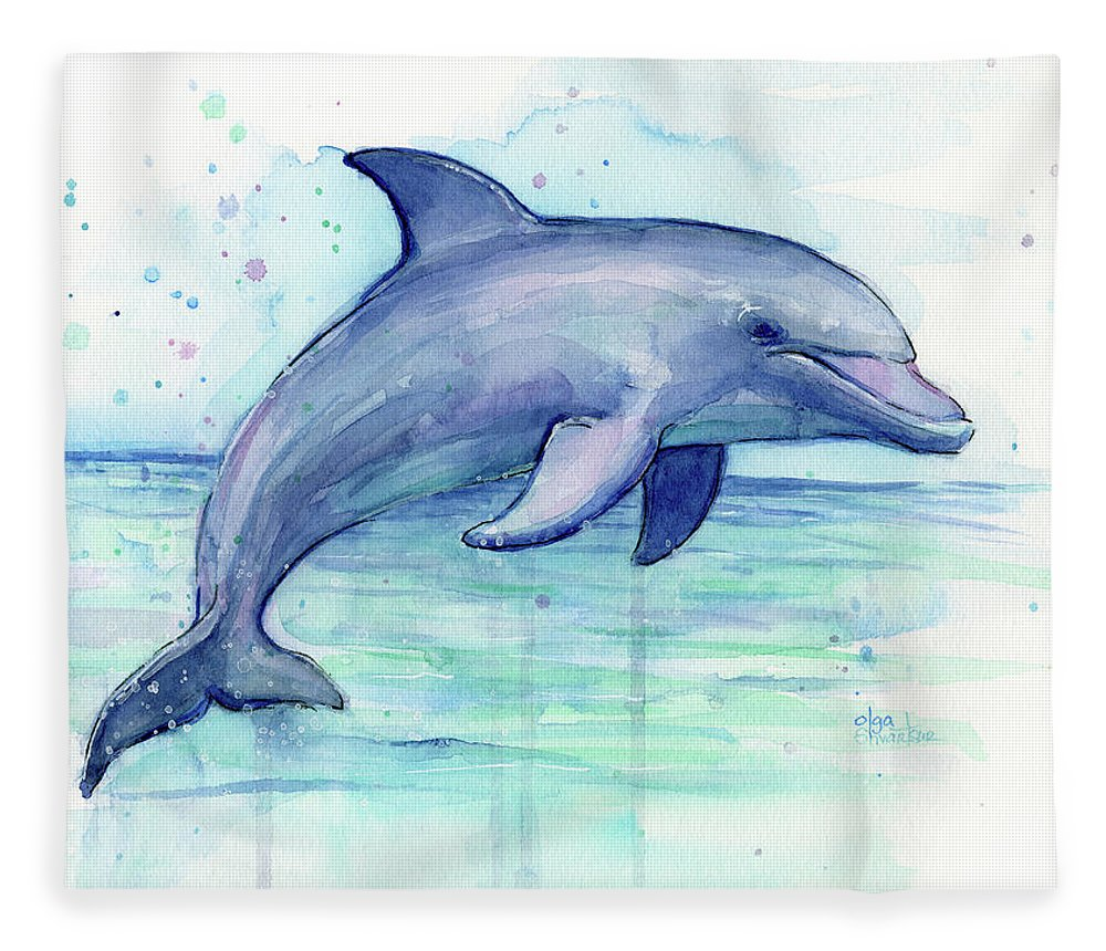 Dolphin Fleece Blanket featuring the painting Watercolor Dolphin Painting - Facing Right by Olga Shvartsur