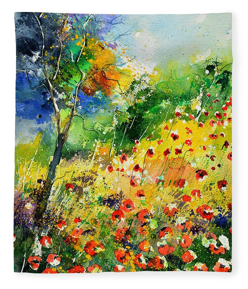 Poppies Fleece Blanket featuring the painting Watercolor poppies 518001 by Pol Ledent