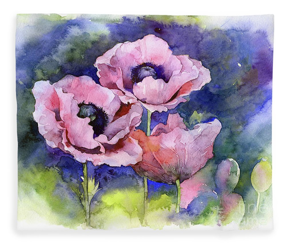 Watercolor Poppies Flowers Art Fleece Blanket For Sale By Mary Pashkova