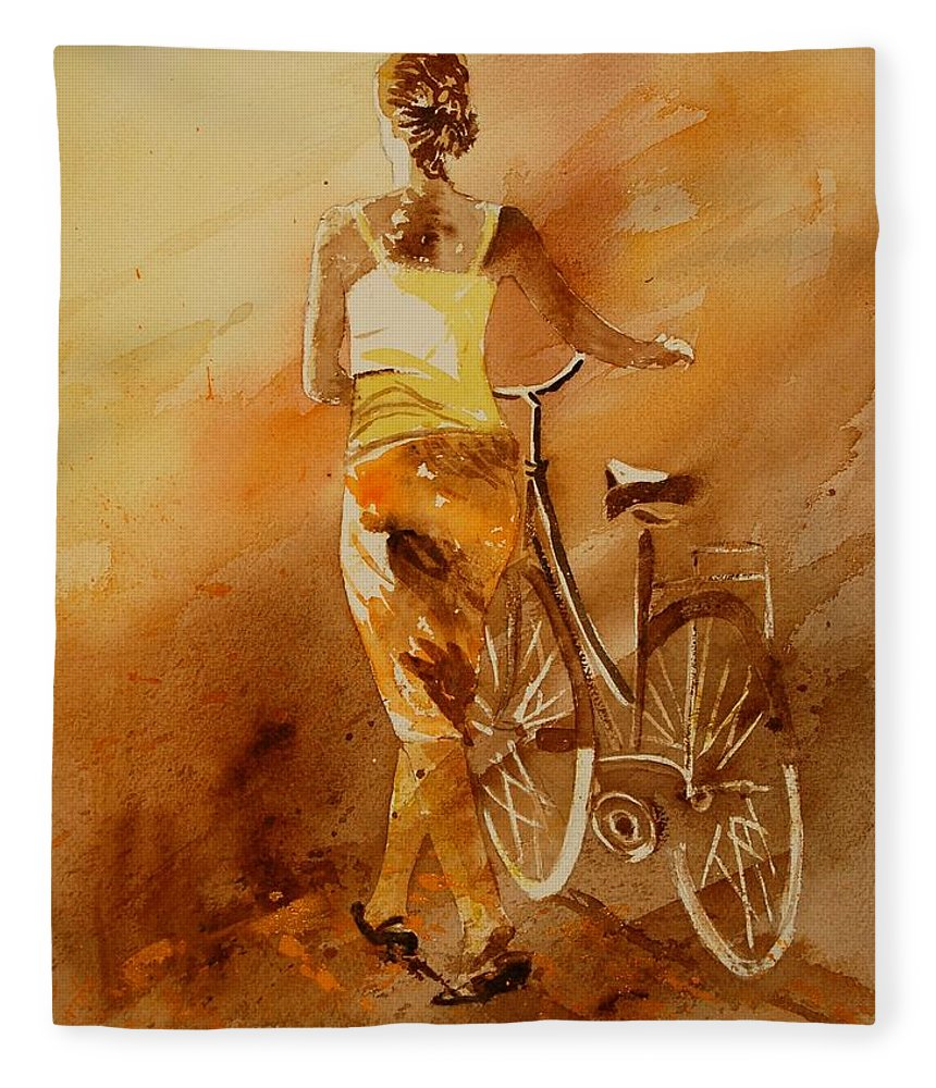 Figurative Fleece Blanket featuring the painting Watercolor With My Bike by Pol Ledent