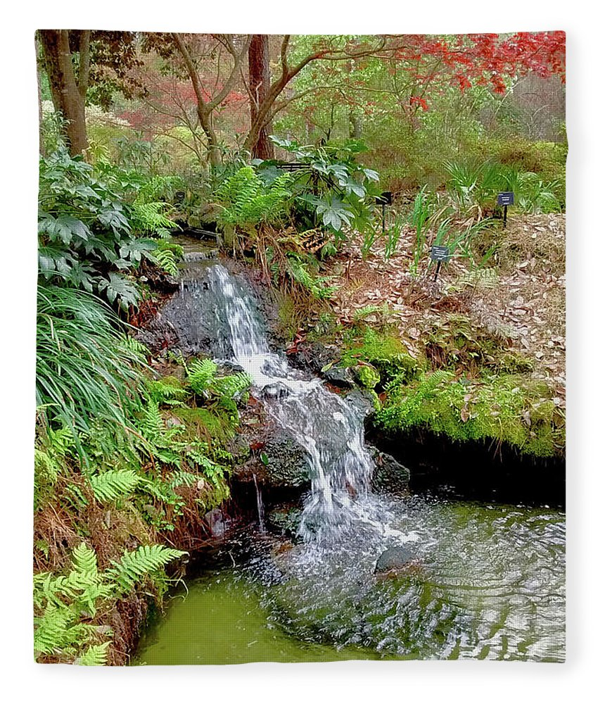 Photography Fleece Blanket featuring the photograph Waterfall In The Forest by Marian Bell