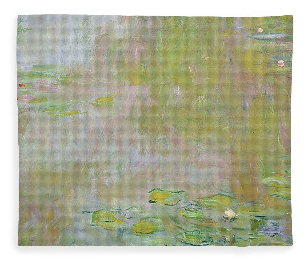 Waterlilies At Giverny Fleece Blanket featuring the painting Waterlilies at Giverny by Claude Monet