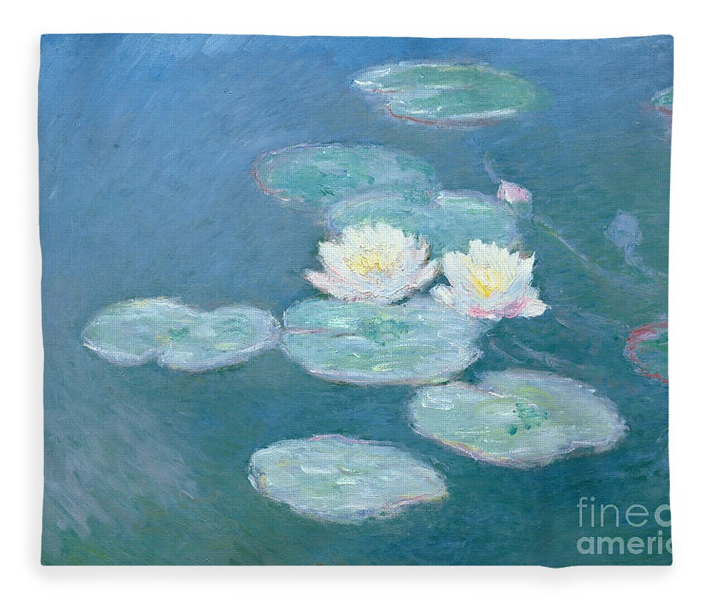 Waterlilies Fleece Blanket featuring the painting Waterlilies Evening by Claude Monet