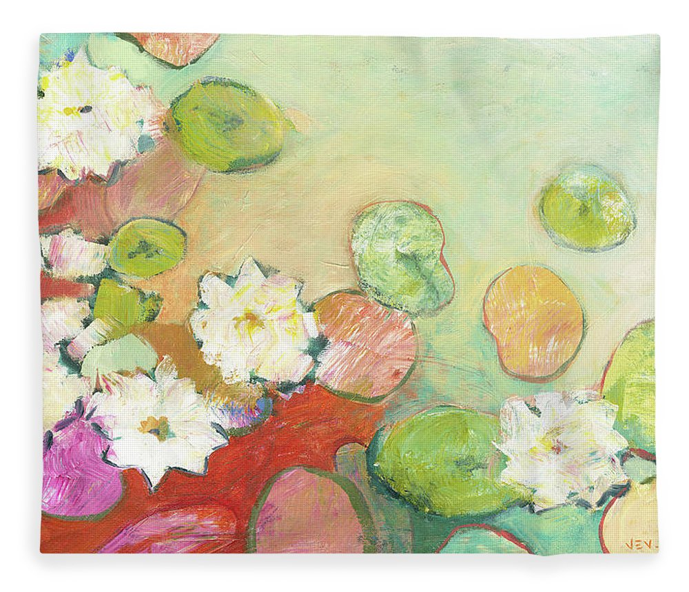 Lilly Fleece Blanket featuring the painting Waterlillies at Dusk No 2 by Jennifer Lommers