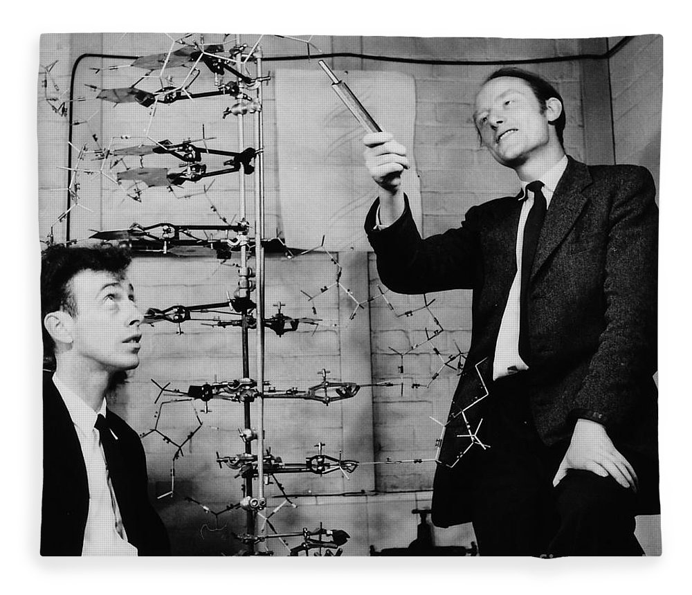 Watson Fleece Blanket featuring the photograph Watson And Crick by A Barrington Brown and Photo Researchers