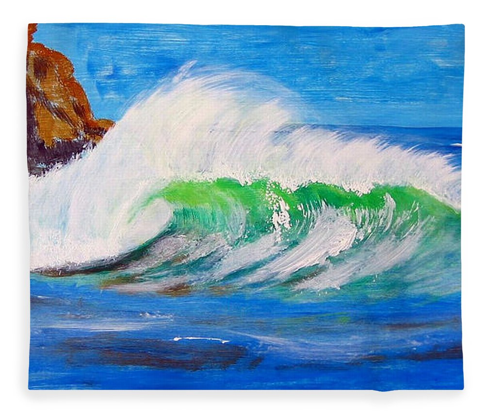 Waves Fleece Blanket featuring the painting Waves by Richard Le Page