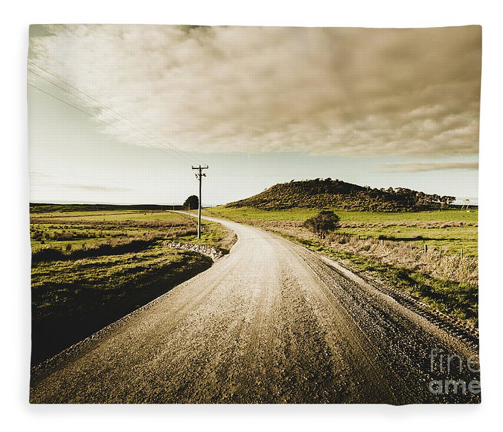 Road Fleece Blanket featuring the photograph Way Out Yonder by Jorgo Photography - Wall Art Gallery